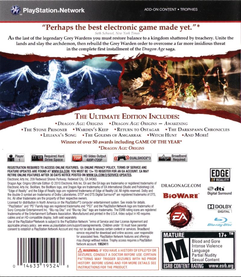 Dragon age: origins ultimate edition playstation 3.