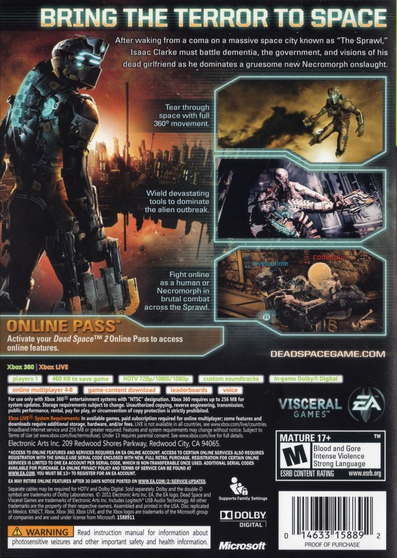 dead space 2 2011 xbox 360 box cover art mobygames rh mobygames com Dead Space 4 Dead Space 2 Zealot Suit