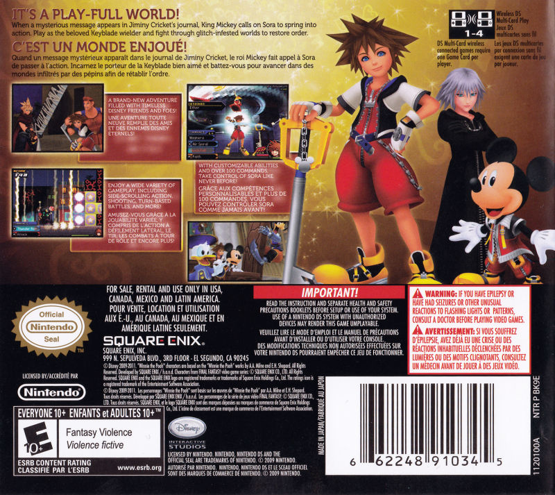 Kingdom Hearts: Re:coded Nintendo DS Back Cover
