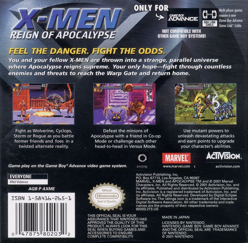 X-Men: Reign of Apocalypse Game Boy Advance Back Cover