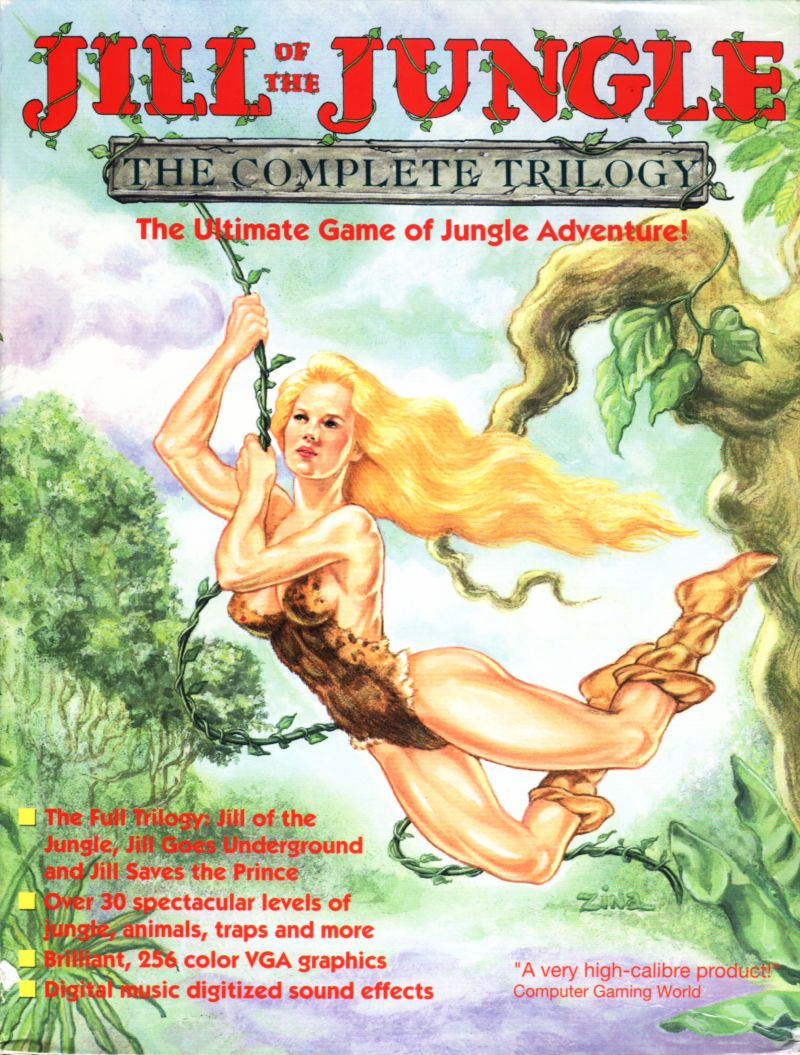 Jill of the Jungle: The Complete Trilogy DOS Front Cover