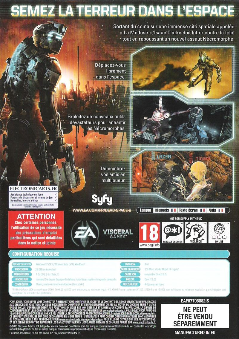 Dead Space 2 (Collector's Edition) Windows Other Keep Case - Back