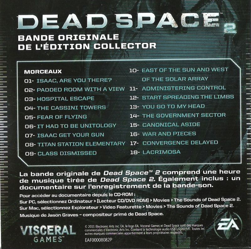 Dead Space 2 (Collector's Edition) Windows Other Soundtrack (Slipcase) - Back