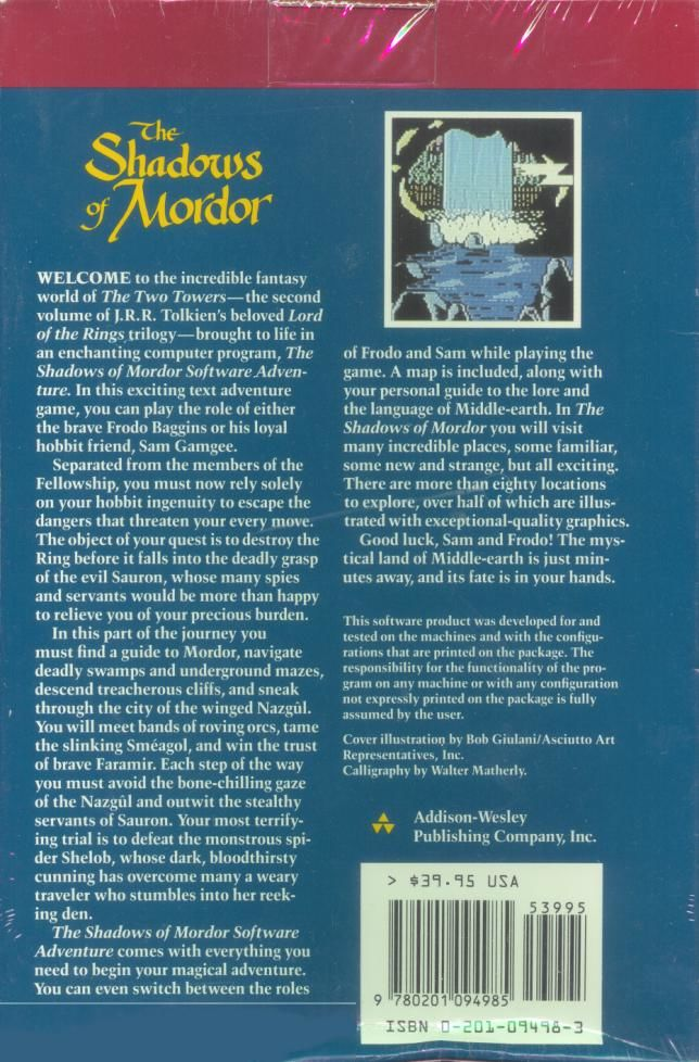 The Shadows of Mordor Apple II Back Cover