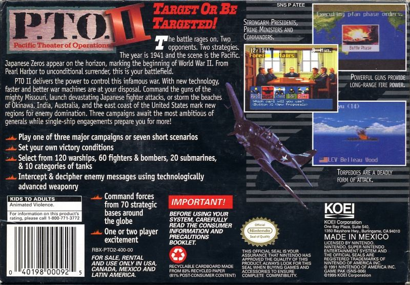 P.T.O.: Pacific Theater of Operations II SNES Back Cover