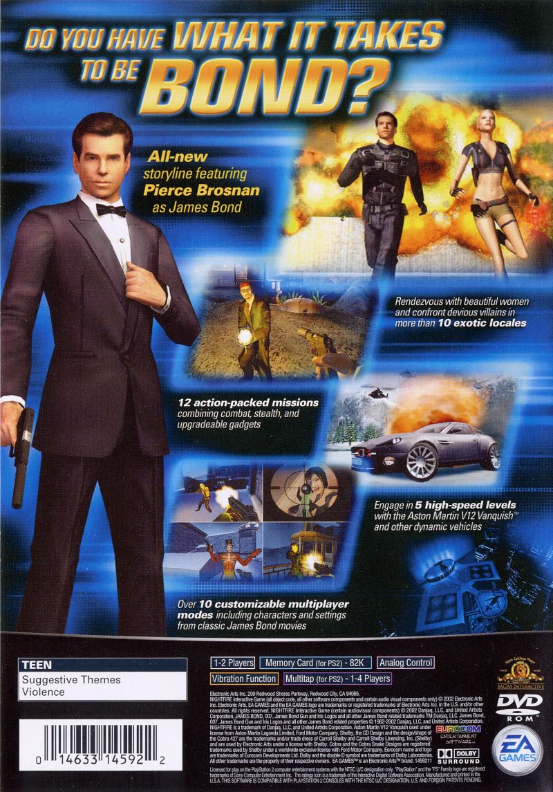 007: Nightfire PlayStation 2 Back Cover