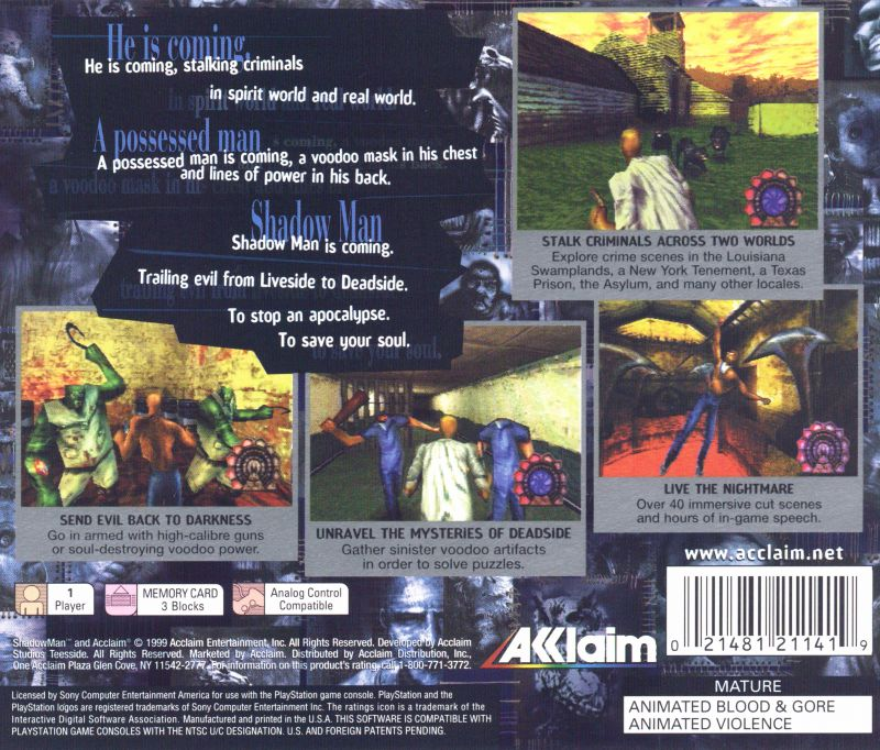 Shadow Man PlayStation Back Cover
