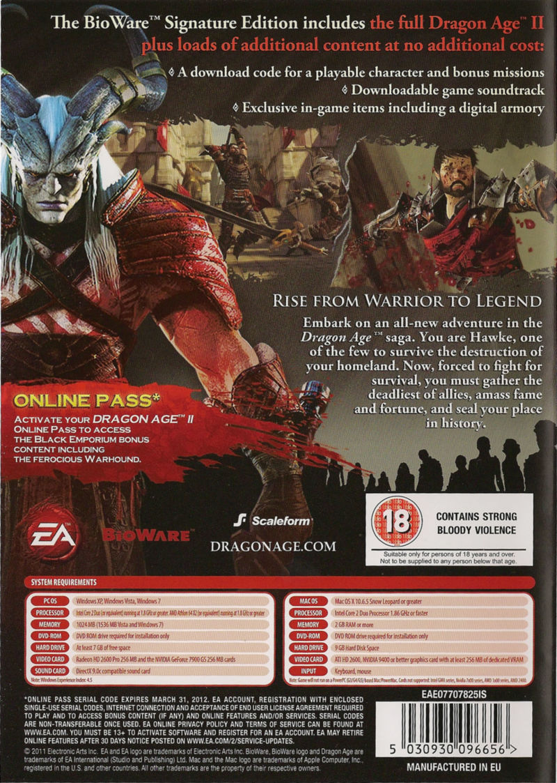 Dragon Age II (BioWare Signature Edition) Macintosh Back Cover