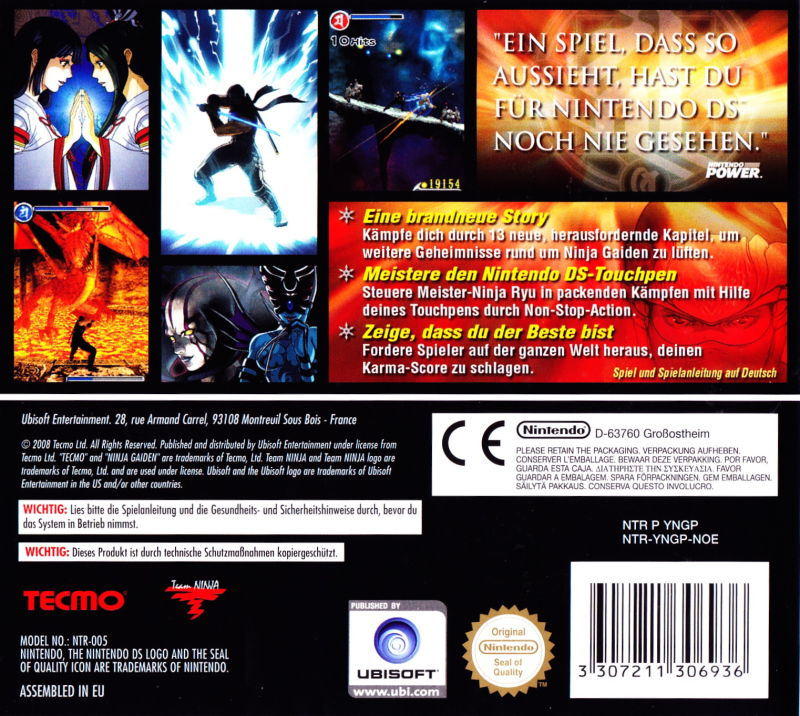 Ninja Gaiden Dragon Sword 2008 Nintendo Ds Box Cover Art Mobygames