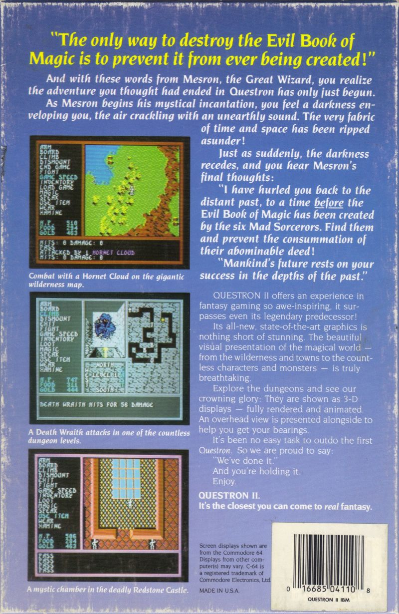 Questron II DOS Back Cover