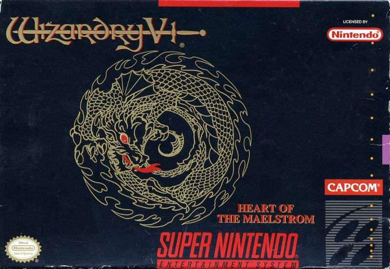 Wizardry V: Heart of the Maelstrom SNES Front Cover