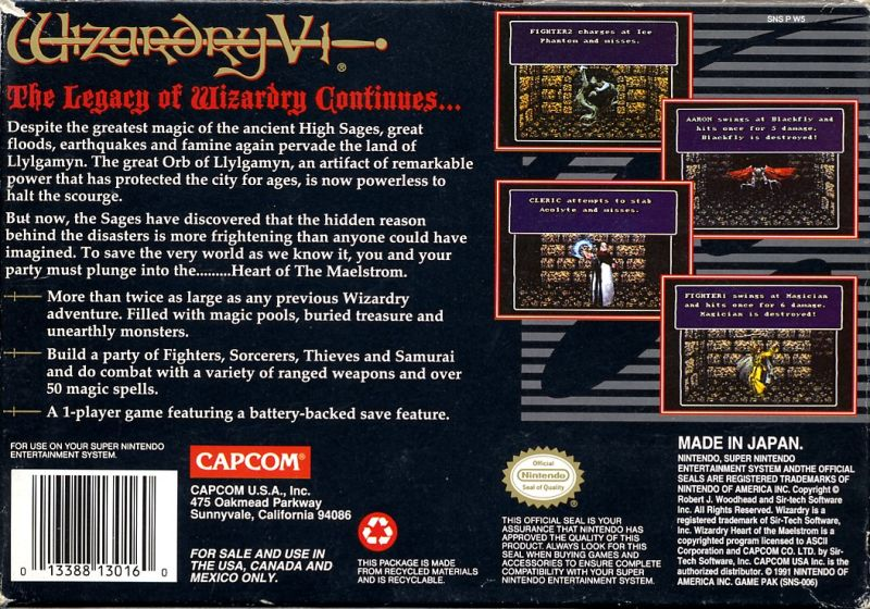 Wizardry V: Heart of the Maelstrom SNES Back Cover