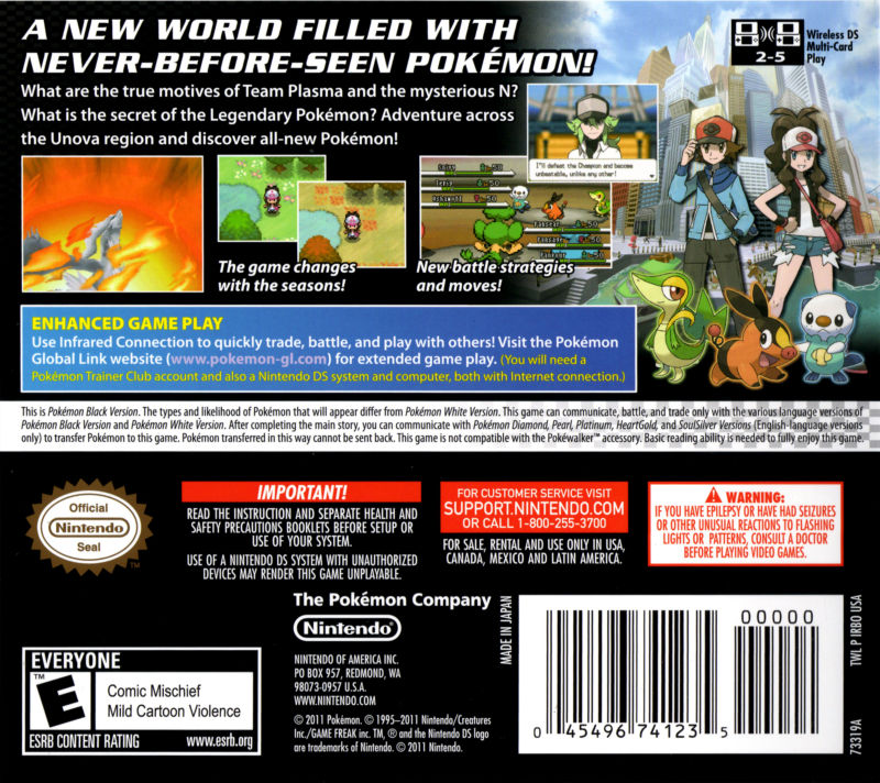 Pokémon: Black Version Nintendo DS Back Cover