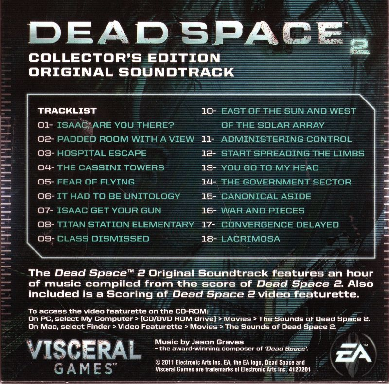 Dead Space 2 (Collector's Edition) Xbox 360 Other Soundtrack - Back Cover