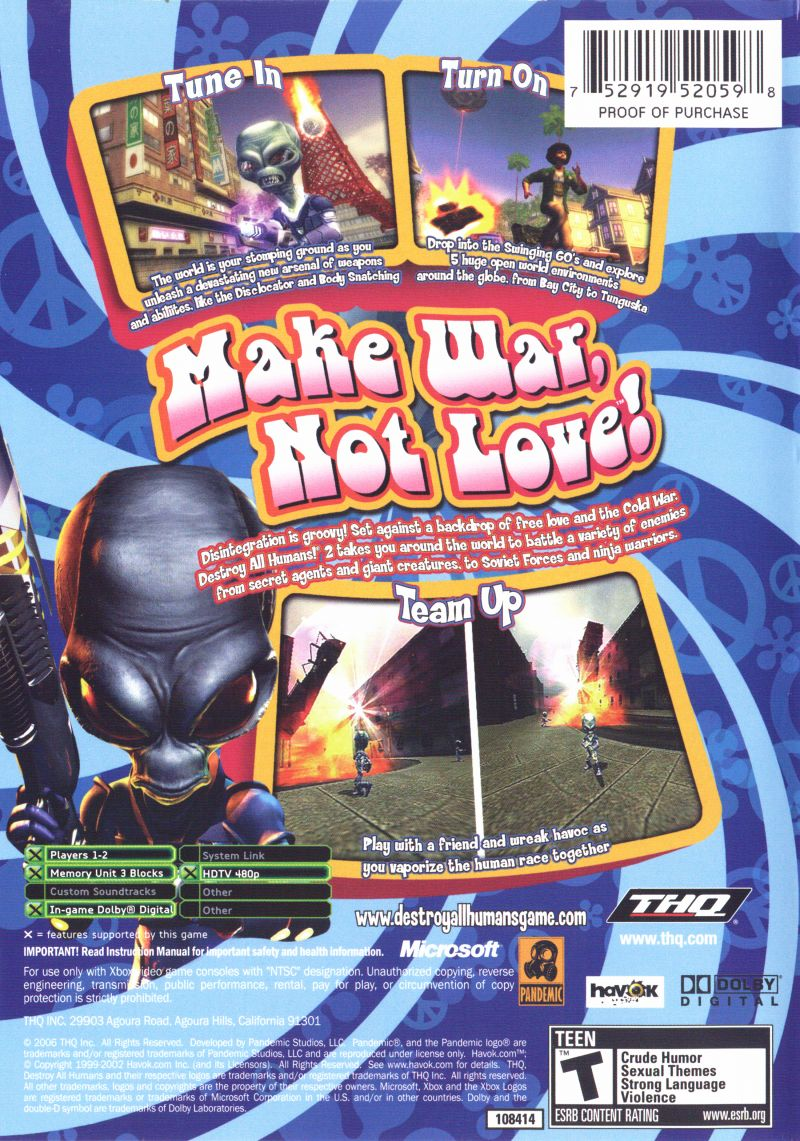 Destroy All Humans! 2 Xbox Back Cover