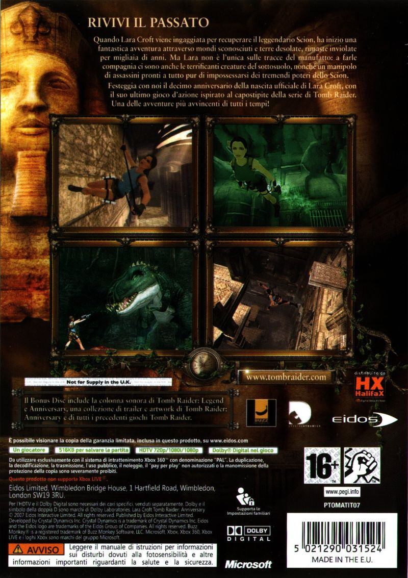 Lara Croft: Tomb Raider - Anniversary Xbox 360 Back Cover