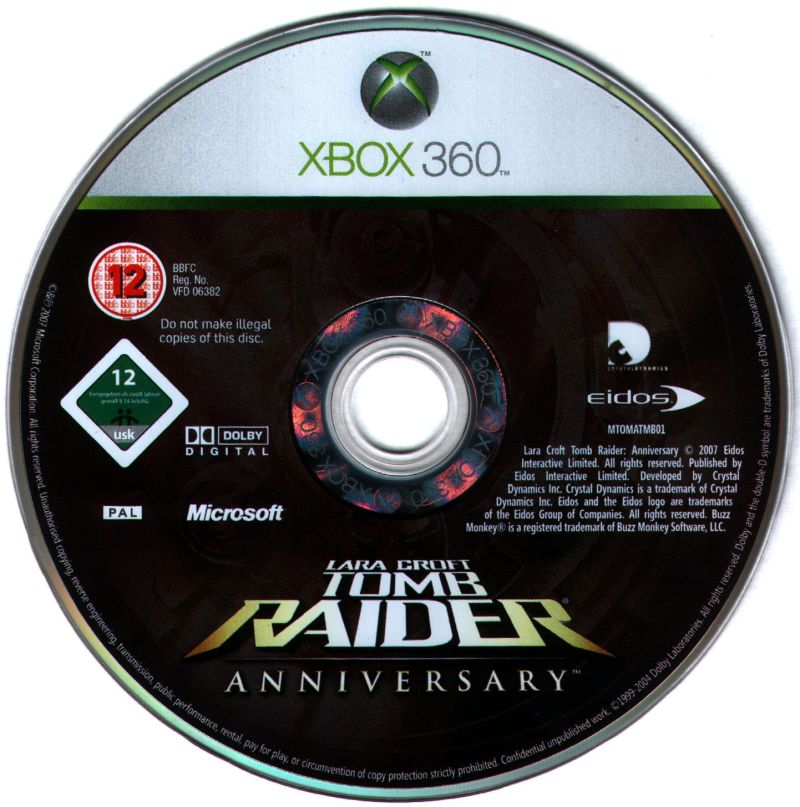 Lara Croft: Tomb Raider - Anniversary Xbox 360 Media Game disc