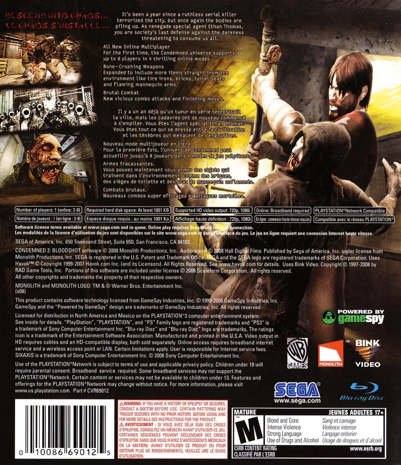 Condemned 2: Bloodshot PlayStation 3 Back Cover