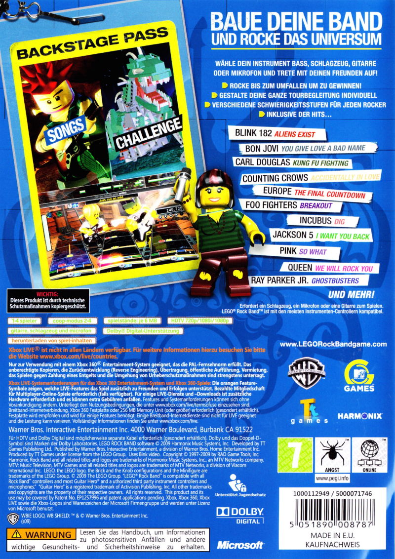 Xbox 360 Game Front Covers LEGO Rock Band (2009) ...