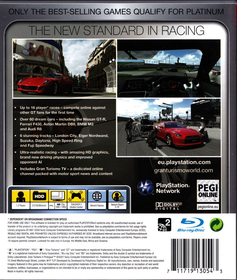 Gran Turismo 5 Prologue PlayStation 3 Back Cover