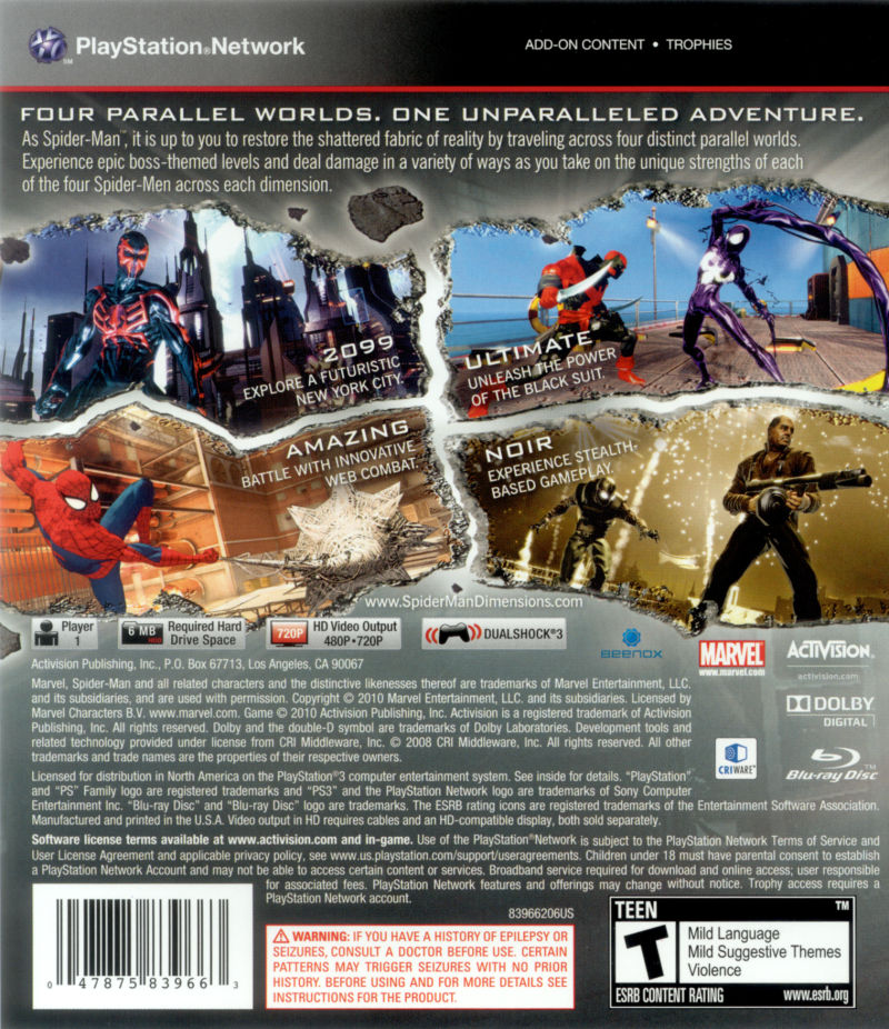 Spider-Man: Shattered Dimensions PlayStation 3 Back Cover