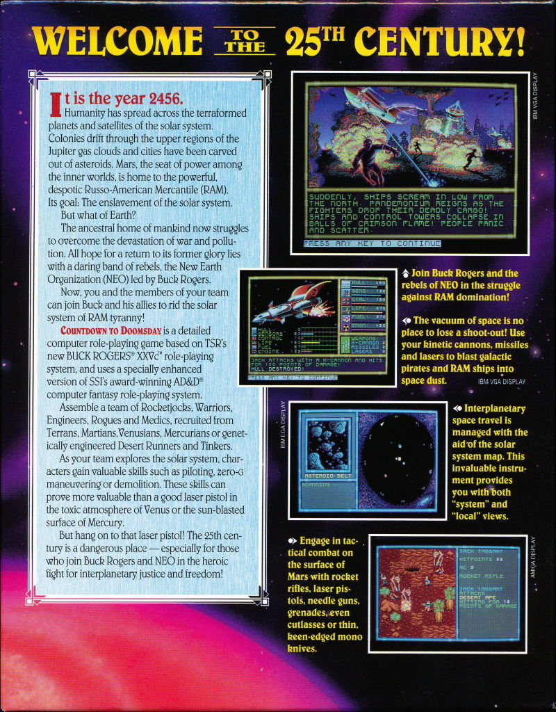 Buck Rogers: Countdown to Doomsday Commodore 64 Back Cover