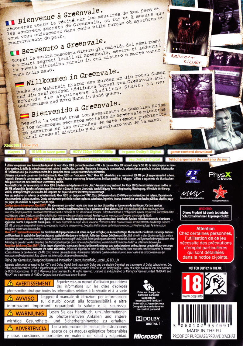 Xbox 360 Game Cover Back Deadly Premonition (20...