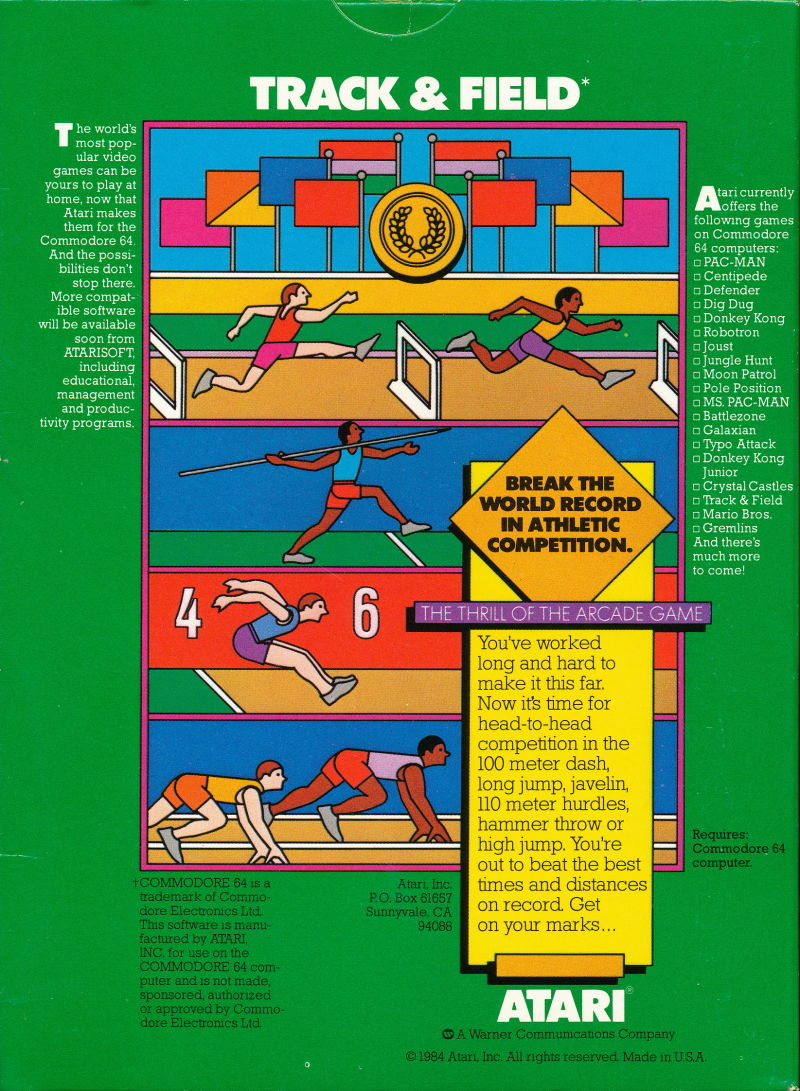 Track & Field Commodore 64 Back Cover