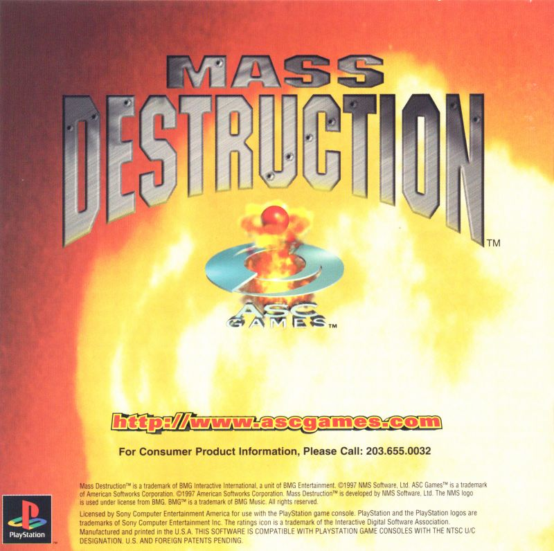Mass Destruction PlayStation Inside Cover Front Reverse