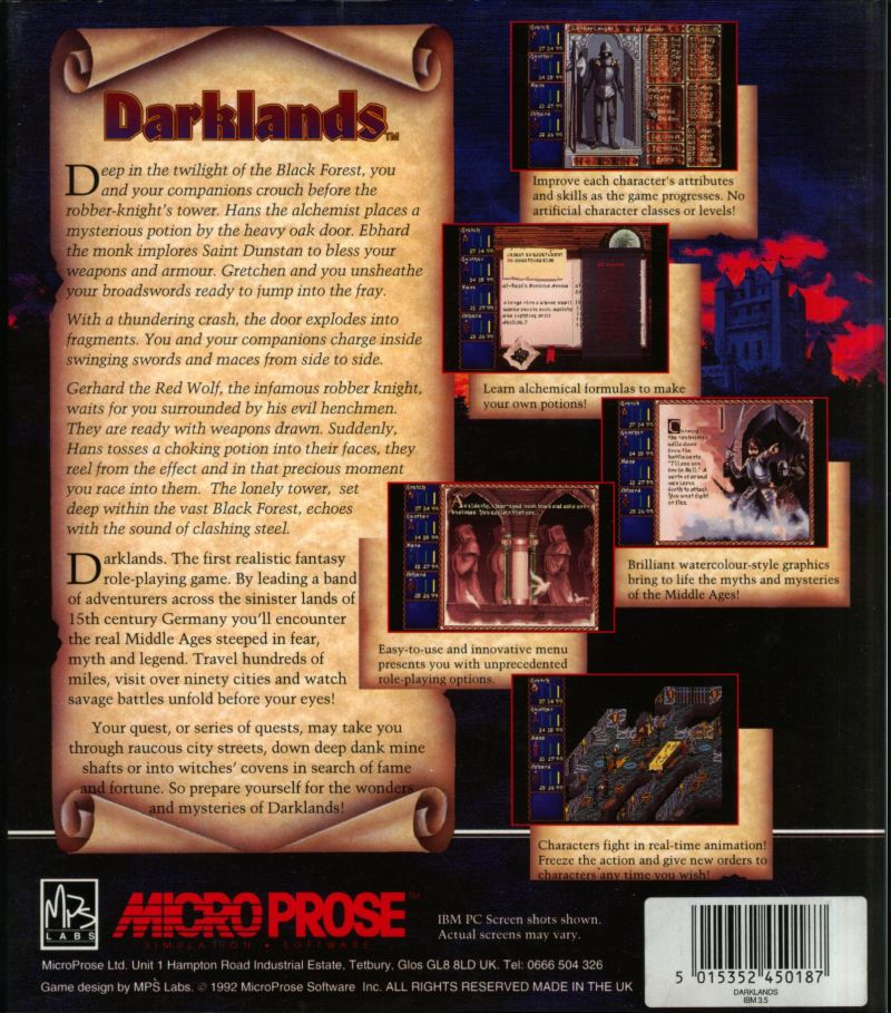 Darklands DOS Back Cover