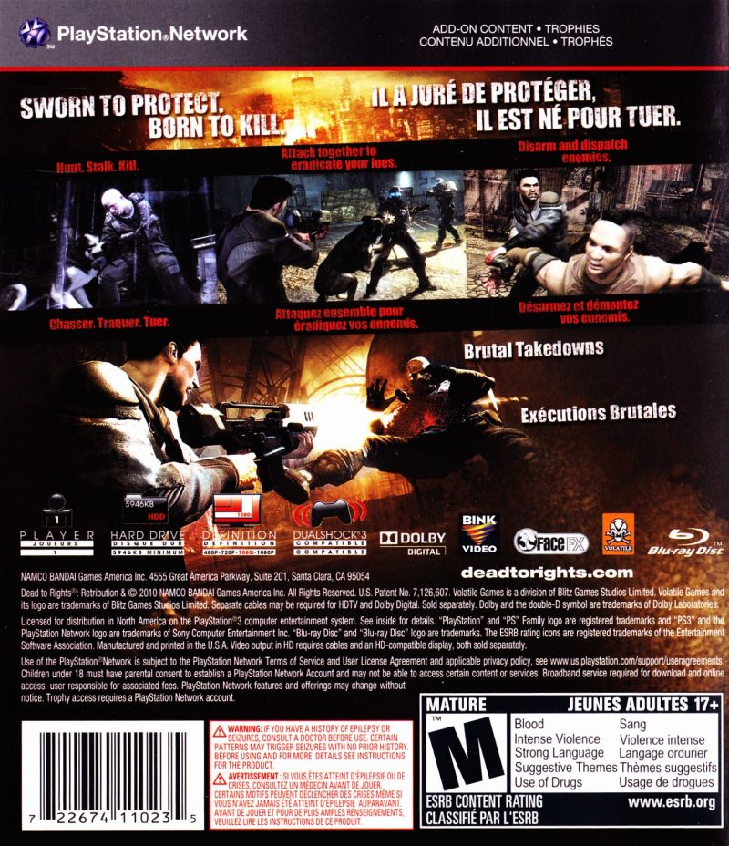Dead to Rights: Retribution PlayStation 3 Back Cover
