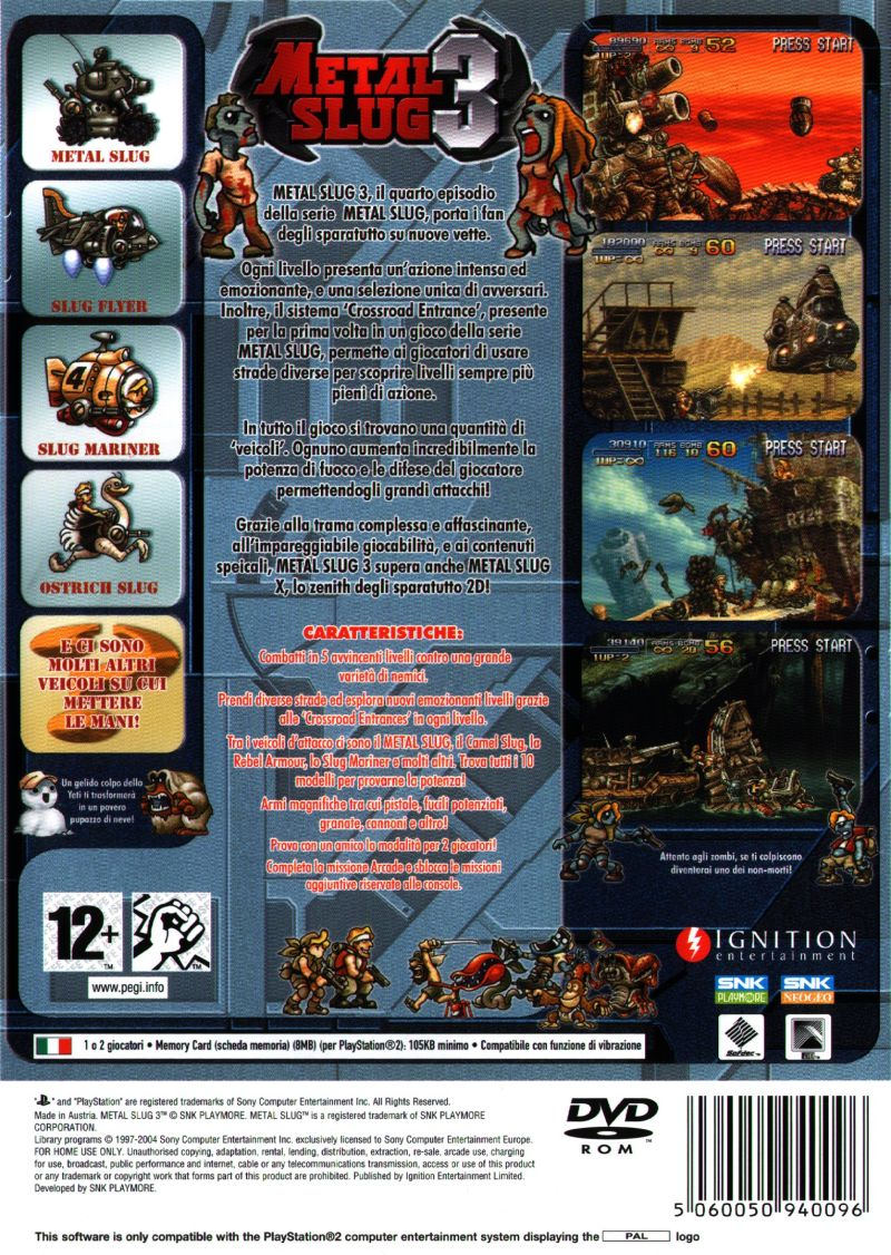 Metal Slug 3 PlayStation 2 Back Cover