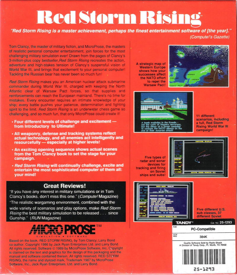 Red Storm Rising DOS Back Cover