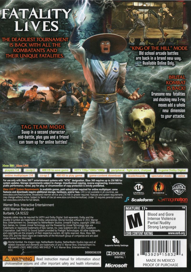 Mortal Kombat:  Kollector's Edition Xbox 360 Other Keep Case - Back Cover.