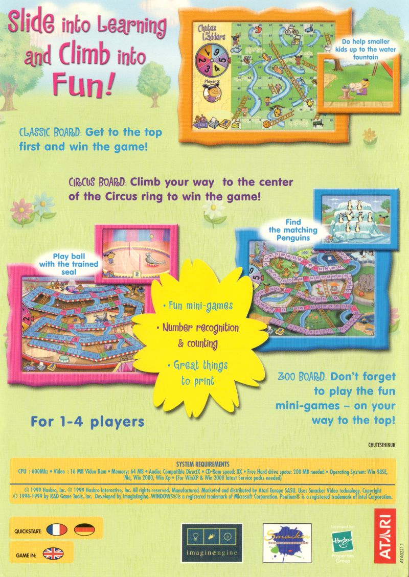 chutes and ladders 1999 windows box cover art mobygames