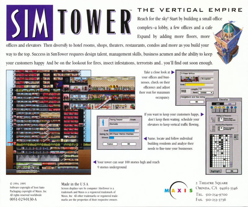 SimTower: The Vertical Empire Macintosh Other Jewel Case - Back