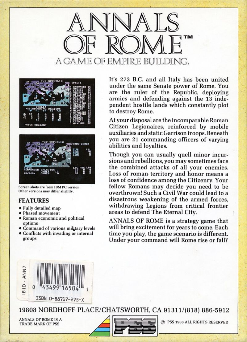 Annals of Rome DOS Back Cover