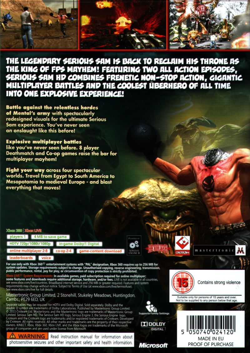 Serious Sam HD Xbox 360 Back Cover