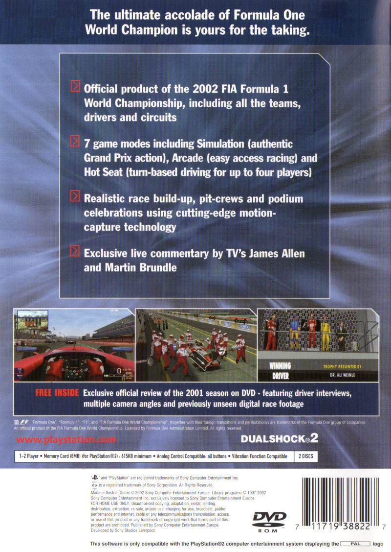 Formula One 2002 PlayStation 2 Back Cover
