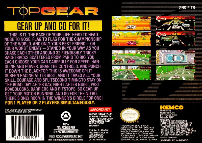 Top Gear SNES Back Cover