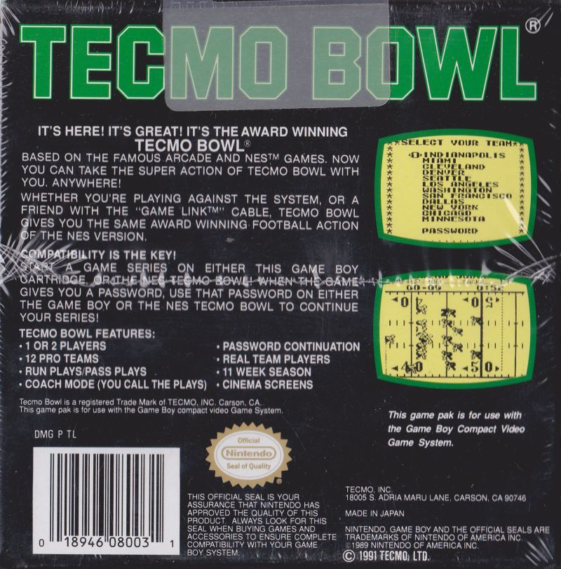 Tecmo Bowl Game Boy Back Cover