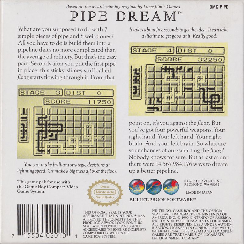 Pipe Dream Game Boy Back Cover