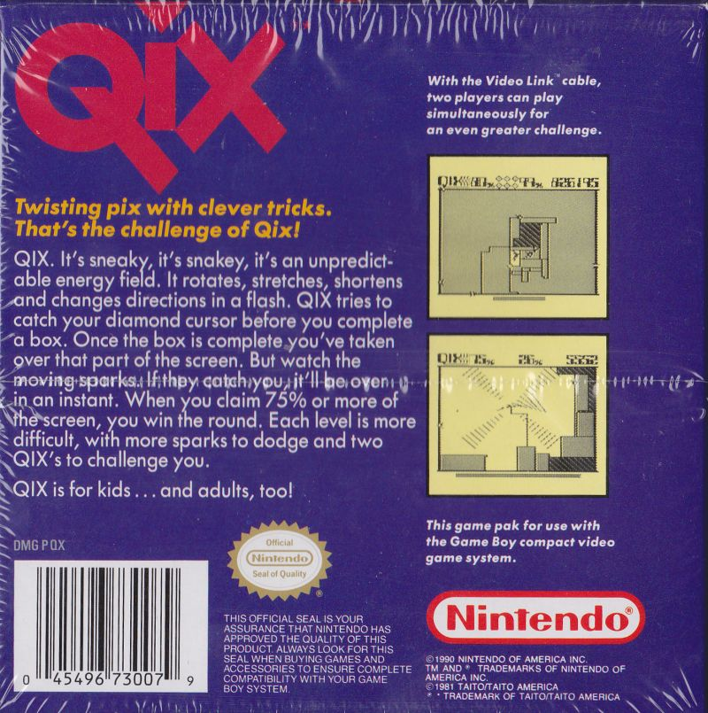 QIX Game Boy Back Cover