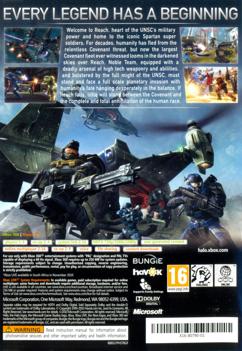 Halo: Reach Xbox 360 Back Cover