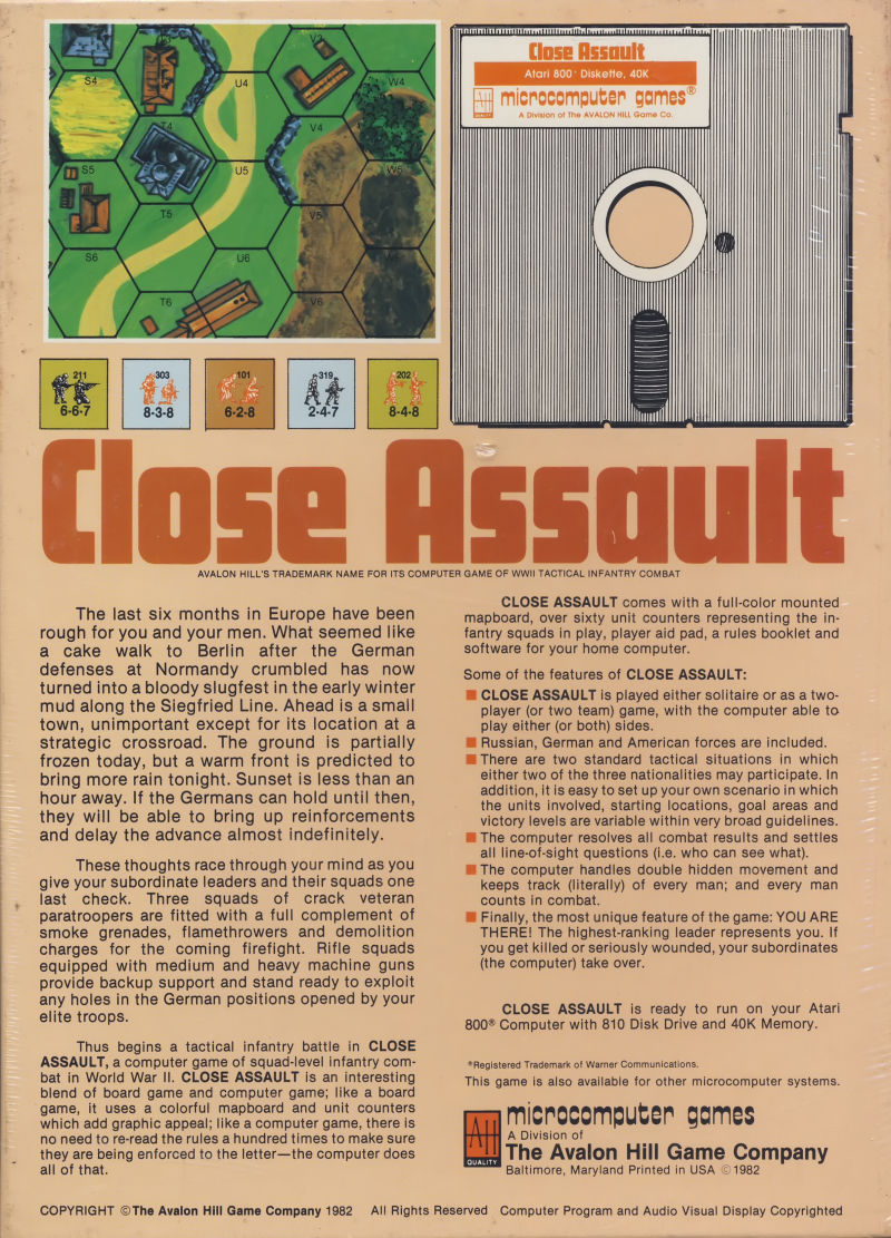 Close Assault Atari 8-bit Back Cover