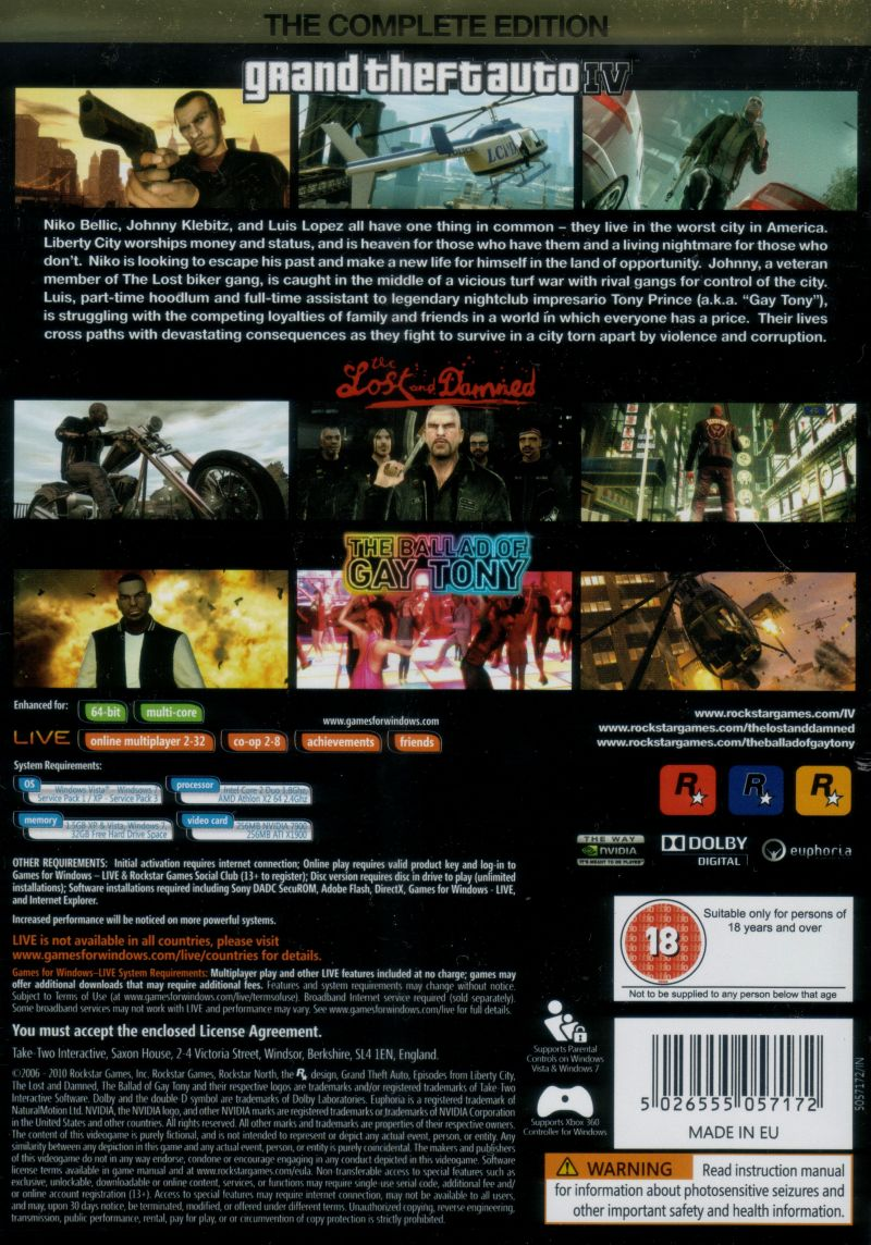 Grand Theft Auto IV: Complete Edition Windows Back Cover