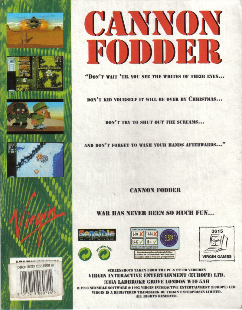 Cannon Fodder (1994) 3DO box cover art - MobyGames