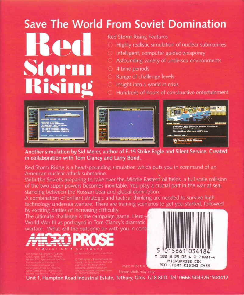 Red Storm Rising Commodore 64 Back Cover