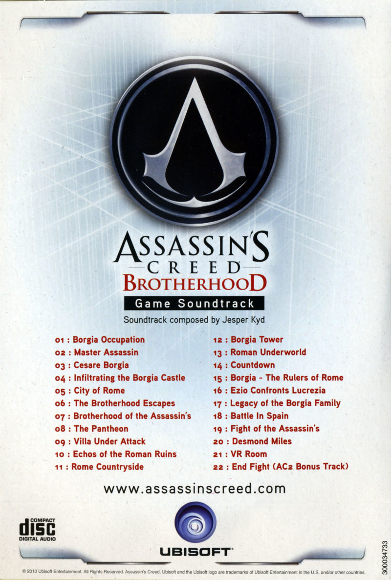Assassin's Creed: Brotherhood (Codex Edition) PlayStation 3 Other Soundtrack - Back