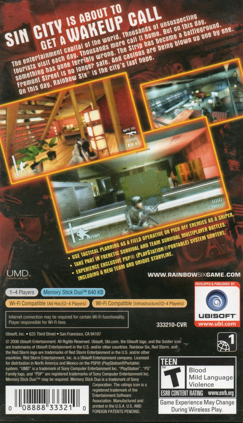 Tom Clancy's Rainbow Six: Vegas  PSP Back Cover